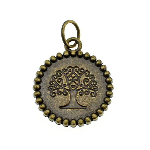 Add-A-Charm Antique Bronze Tree of Life / Life String Charm with Jump Ring [1 piece] -- Lead, Nickel & Cadmium Free  14857.B16