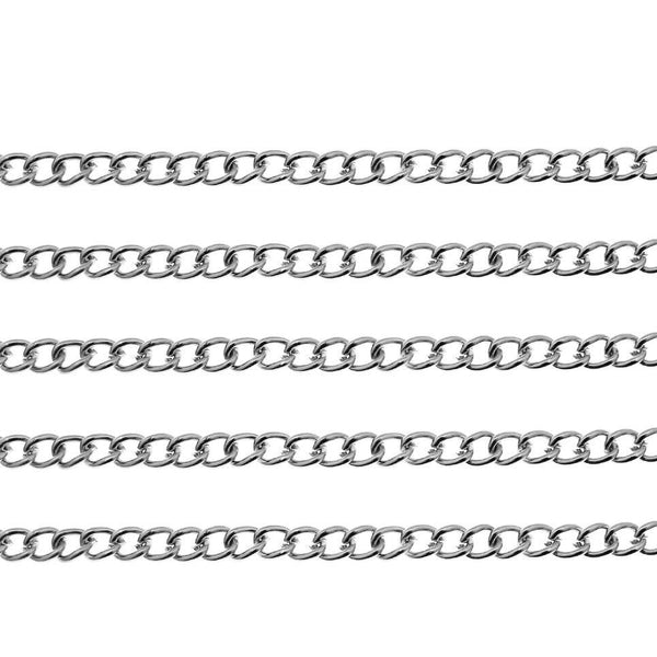 Antique Silver Curb Chain / Twisted Oval Link Chain 5mm x 4mm x 1mm [2 feet] -- Lead, Nickel, Cadmium Free 83759