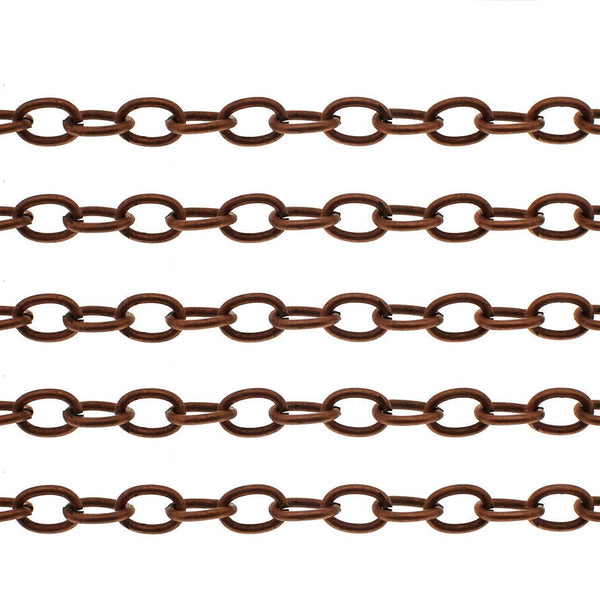 Antique Copper Oval Link Chain / Copper Ox Cable Chain  (8mm x 5.5mm x 1mm) [10 feet] -- Lead, Nickel & Cadmium Free 41412