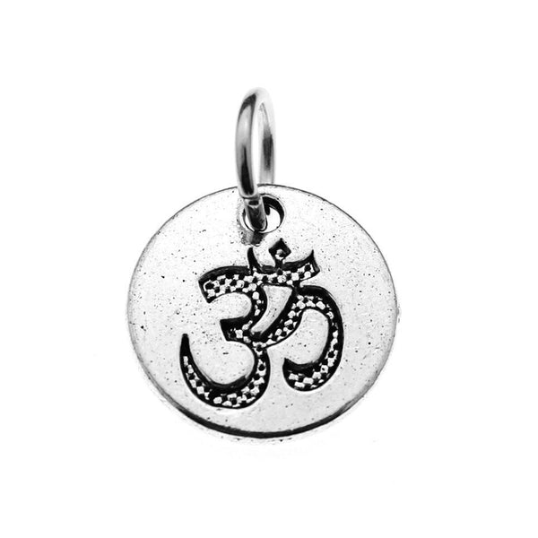 Add-A-Charm Antique Silver Ohm Charm with Jump Ring / Yoga OM Charm [1 piece] -- Lead & Nickel Free 111663.P