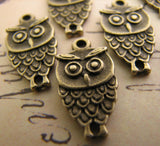 Antique Bronze Owl Charms | Double-Sided Owl Pendants [10 pieces] -- Lead, Nickel & Cadmium Free Jewelry Findings A9