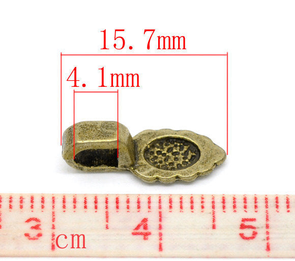 Antique Bronze Teardrop Pendant Bails / Brass Ox Small Leaf Glue On Jewelry Bails (16mm x 6mm) [25 pieces] -- 3357.C32