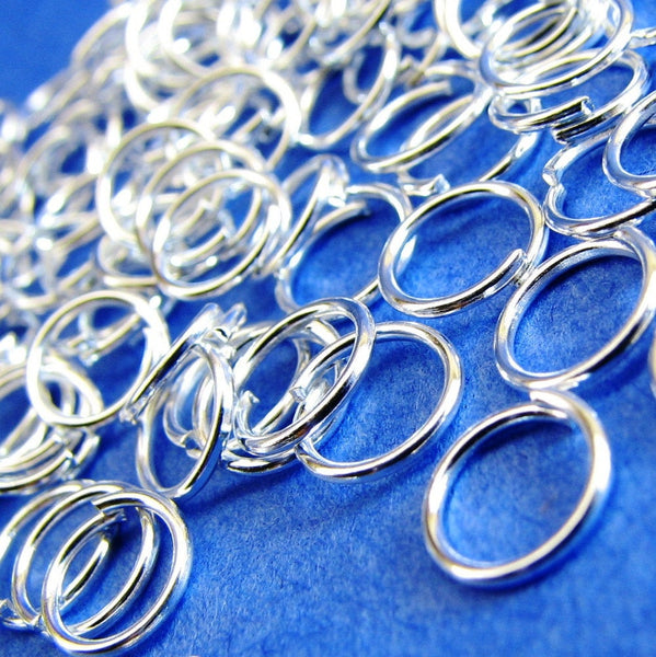 100 Bright Silver Plated Open Jump Rings 6mm x 0.9mm ( 19 Gauge) -- Lead, Nickel, & Cadmium free  6/.9S
