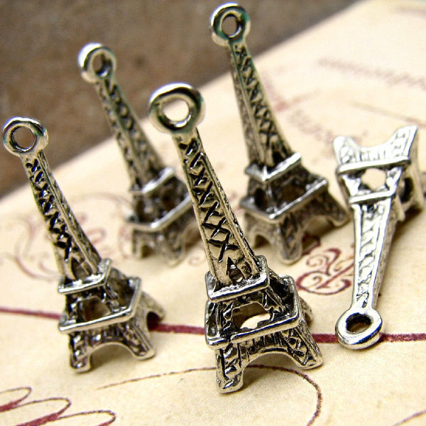 Antique Silver Vintage Eiffel Tower Charms / Paris, France [10 Pieces]  ... Lead & Cadmium Free Jewelry Findings A35