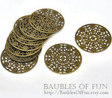 Antique Bronze Filigree Round Metal Jewelry Stampings / Embellishments