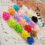 Resin Cabochons / Resin Flowers : 10 Mixed Color Rose Resin Flower Cabochons 10mm ... Great on bobby pins, earrings, rings F3