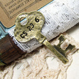 Vintage Brass Stamped Key Charms / Antique Bronze Skeleton Key Pendants [3 pieces] -- Lead & Nickel Free A23