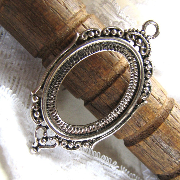 Bezel / Cabochon Setting : 10 Antique Silver Oval Cameo Bezel Settings / Pendant Blanks Trays Hold 17.5x24mm cabochons -- 18800.J1L