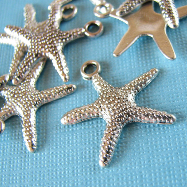 Silver Starfish Charms / Star Fish Pendants / Beach Charms 19x19mm [10 pieces] -- Lead, Nickel & Cadmium Free Jewelry Findings 306.A30