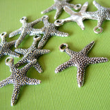 Antique Silver Starfish Charms / Silver Starfish Pendants / Sea Life Beach Charms [10 pieces] -- Lead & Cadmium Free Jewelry Findings A29