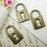 Antique Bronze Skeleton Key Lock Charms ... 11x19mm [10 pieces] -- Lead & Cadmium Free 10912.K4A