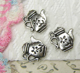 10 pieces Antique Silver Teapot Charms / Tea Coffee Pot Charms -- Nickel, Lead & Cadmium free Jewelry Findings 65285