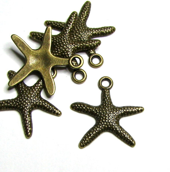 Antique Bronze Starfish Charms / Brass Ox Beach Sea Bracelet and Necklace Charms [10 pieces] -- Lead, Nickel & Cadmium Free 13503.L7