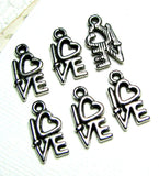 Silver Charms : 10 Antique Silver Love Heart Charms | Silver Ox Heart Pendants ... 14x8mm ... Lead & Cadmium Free Jewelry Findings J1H