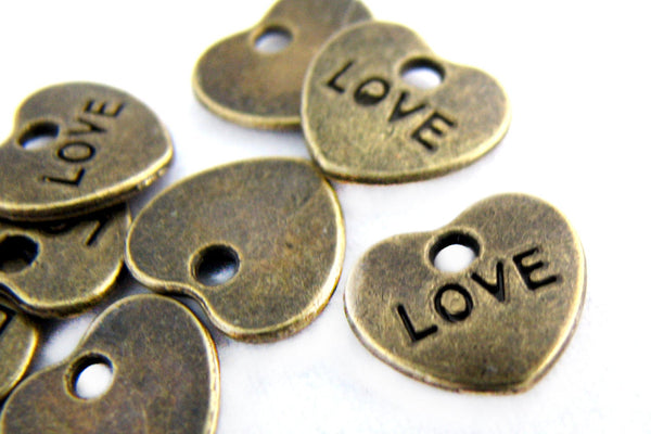 Bronze Charms : 10 Pcs Antique Bronze Heart LOVE Charms / Brass Ox Heart Pendants ... Lead, Nickel & Cadmium Free J4L