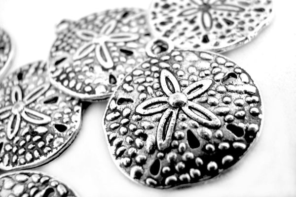Add-A-Charm Antique Silver Sand Dollar Beach Charm with Jump Ring [1 piece] -- Lead, Nickel & Cadmium Free