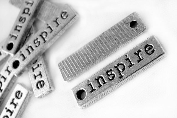 Silver Charms : 10 Pcs Antique Silver Inspire Charms / Silver Stamped Inspire Bar Pendants ... Lead, Nickel & Cadmium Free 35212.J1E