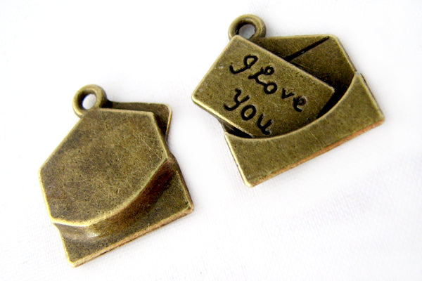 10 Antique Bronze Love Letter Charms | I Love You Pendants | Brass Love Letter Pendants -- Lead, Nickel & Cadmium Free J2E
