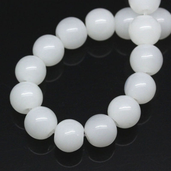 Glass Beads : 80 pieces 4mm Milk White Round Glass Beads (full 12-inch strand) -- 4.26