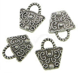Antique Silver Handbag Purse Charms [10 pieces] -- Lead, Nickel & Cadmium Free Jewelry Findings J4D