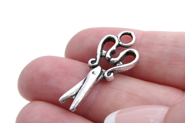 Antique Silver Scissors Charms  28x12mm [10 pieces] -- Lead, Nickel & Cadmium Free Jewelry Findings 1023.M
