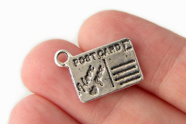 Antique Silver 'I Love You' Postcard Charms / Double-Sided Silver Charms / Bracelet Charm [10 pieces] -- Lead & Nickel Free J2B