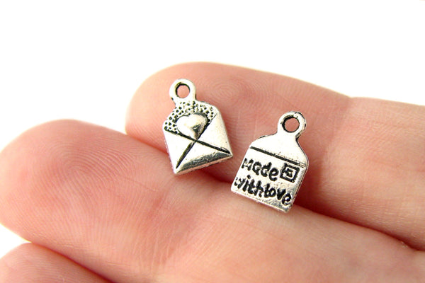 "25 pieces Antique Silver Love Letter Charms / ""Made With Love"" Heart Charms 10x6mm ... Lead, Nickel & Cadmium free"