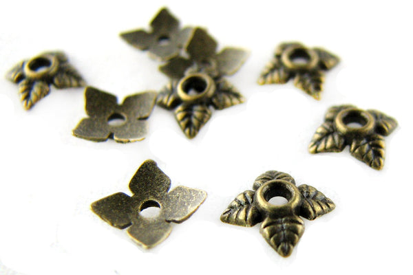 Antique Brass Leaf End Caps / Bronze Flower Bead Caps 6mm [25 pieces] -- Lead, Nickel & Cadmium Free Jewlery Findings 018B.M