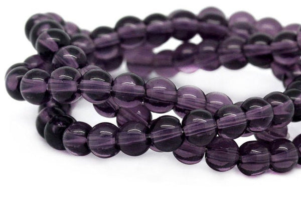 Full 12-inch Strand of Violet 8mm Round Crystal Beads (approx 40 beads)         52342