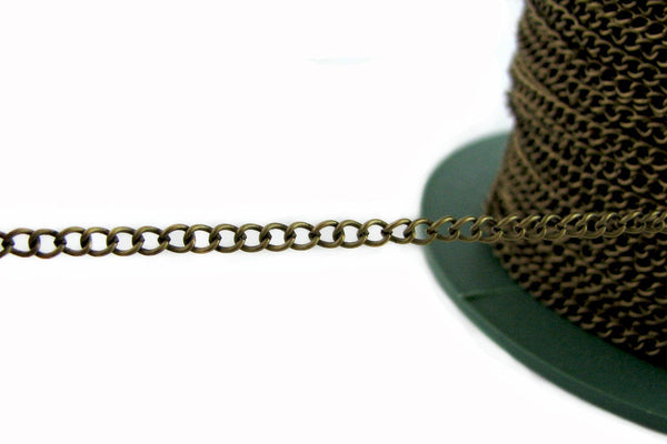 Bronze Chain : 16 Feet (5 meters) Antique Bronze Twist Oval Chain / Brass Ox Curb Chain ... 2.5x3x.7mm ... Lead, Nickel & Cadmium Free 43944