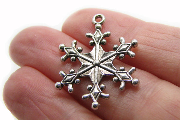 Add-A-Charm Antique Silver Snowflake Charm with Jump RIng [1 piece] -- Lead, Nickel & Cadmium free 12740-1.R