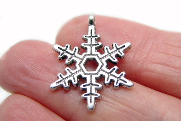 Antique Silver Snowflake Charms / Frozen Snow Silver Charms -- Great for bracelets or necklaces [10 pieces]  353.J3J