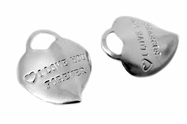 "Charms : 10 Silver Heart ""I Love You Forever"" Charms  -- Lead, Nickel & Cadmium Free  41601.J5B"
