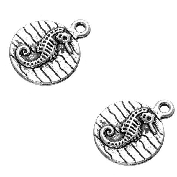 Add-A-Charm Antique Silver Seahorse Beach Charm with Jump Ring -- Perfect for Necklace or Bracelet [1 piece] -- Ships from the U.S.
