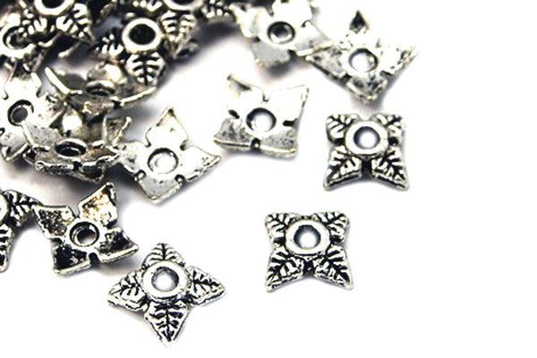Antique Silver 6mm Leaf End Caps / Silver Ox Flower Bead Caps [100 pieces] -- Lead & Cadmium Free Jewelry Findings 551-100.M