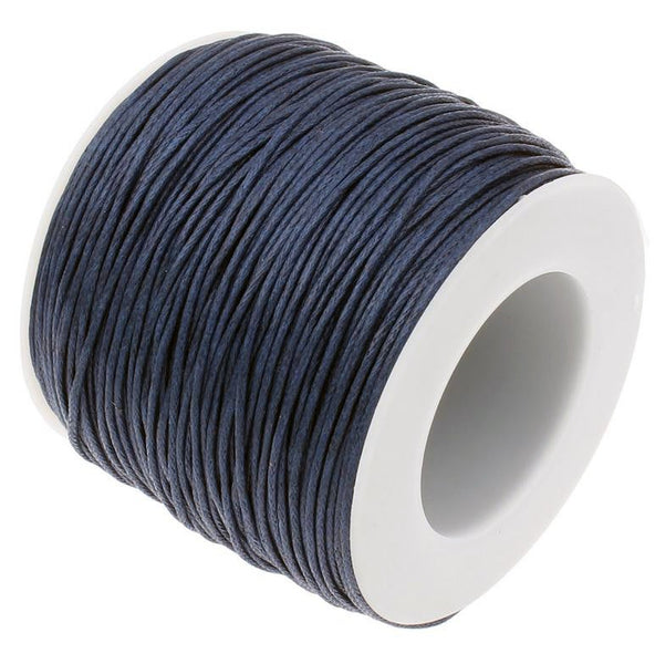 Waxed Cord : Navy Blue 1mm Waxed Cord String / Bracelet Cord / Macrame Cord [70 yards]   129-70