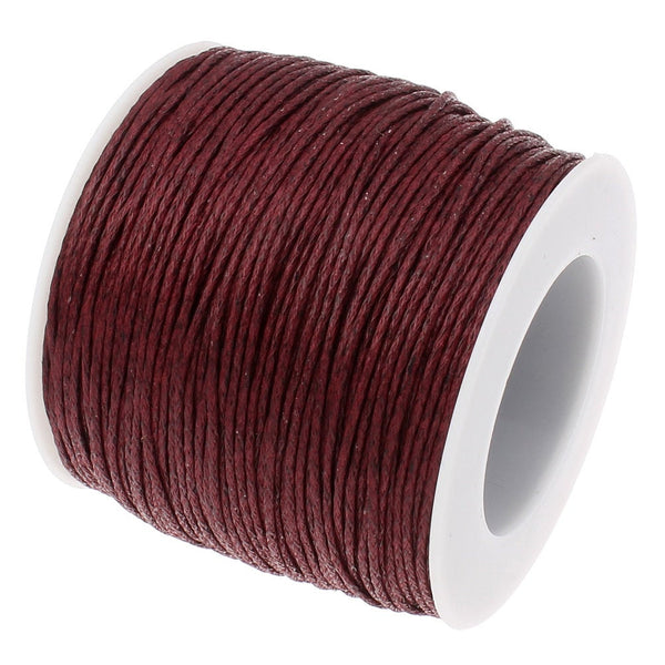 Waxed Cord : 70 Yards Full Spool Merlot 1mm Waxed Cord String | Bracelet Cord | Macrame Cord | Chinese Knotting Cord  179-70