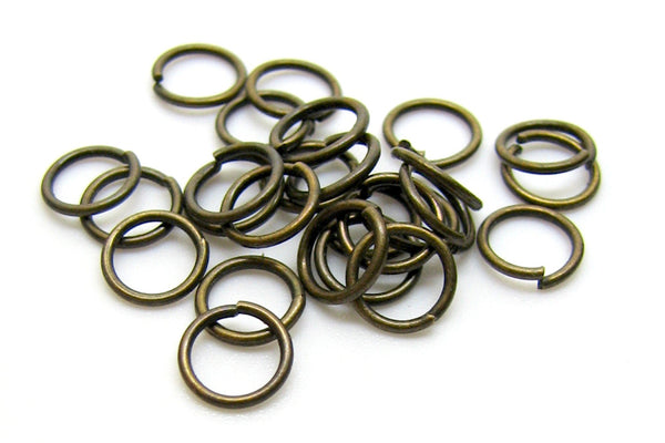 100 pieces Antique Bronze Open Jump Rings 7mm x .8mm (20 Gauge) -- Lead, Nickel, & Cadmium free 7/.8-B