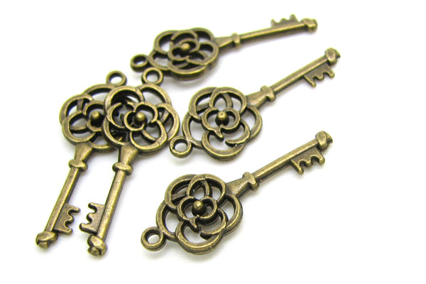 Bronze Charms : 10 Antique Bronze Flower Skeleton Key Charms | Brass Ox Skeleton Key Pendants 11x27mm ... Lead, Nickel & Cadmium Free D12