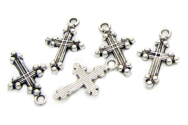 Antique Silver Religious Cross Charms ... 20mm x 12mm [10 pieces] -- Lead, Nickel & Cadmium Free J5C