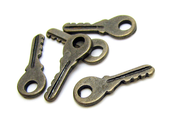 Antique Bronze Vintage Key Charms / Small Brass Ox Keys [10 pieces] Perfect for a Charm Bracelet -- Lead & Nickel Free Jewelry Findings A20