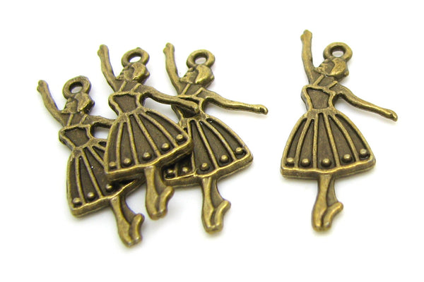 10 Antique Bronze Slightly Defective Ballerina Charms / Antique Brass Ballet Dance Pendants -- Lead Free Jewelry Findings J3D