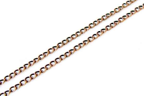 16 feet (5 meters)  Antique Copper Twisted Oval Chain 2.5mm x 3.7mm x .7mm -- Lead, Nickel & Cadmium Free 43635
