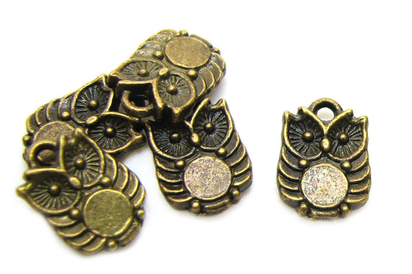 Bronze Charms : 10 Antique Bronze Owl Charms | Brass Double-Sided Owl Pendants -- Lead, Nickel & Cadmium free 1059AB C3