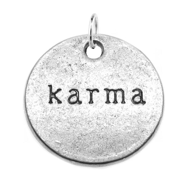 Silver Karma Charm with Jump Ring at Baubles Of Fun