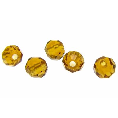 Light Topaz 4Mm Round Crystal Faceted Beads