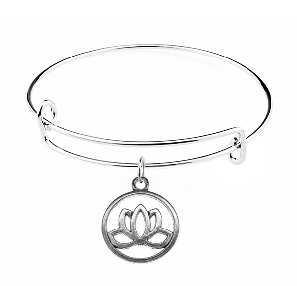 Silver Lotus Charm on Bangle Bracelet at Baubles Of Fun