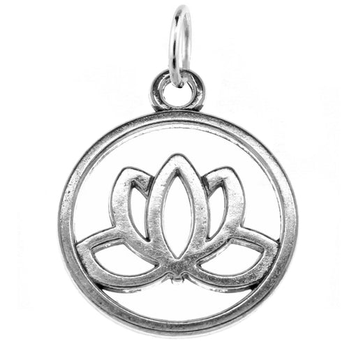 Silver Lotus Charm with Jump Ring at Baubles Of Fun