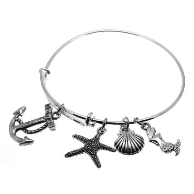 Love Arm Candy: Antique Silver Adjustable Wire Bangle Bracelet With Anchor Heart Mermaid & Starfish Charms | Stacking Charm -- 64700
