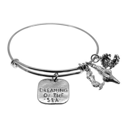 Love Arm Candy: Antique Silver Adjustable Wire Bangle Bracelet With Dreaming Of The Sea Clam Shell Mermaid & Seashell Charms | Stacking